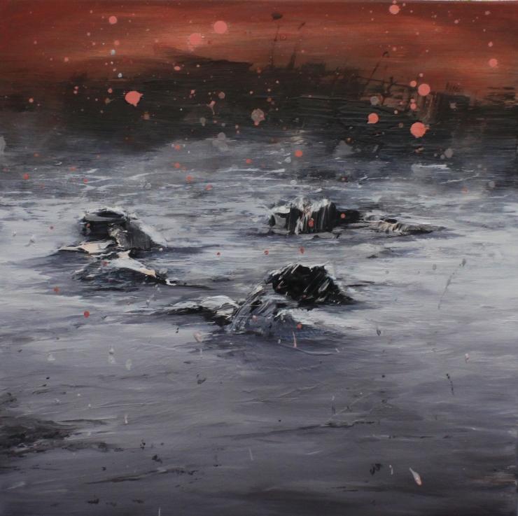 Heli Huotala, 2017, Shipwrecked, 60x60 cm, öljy ja akryyli kankaalle
