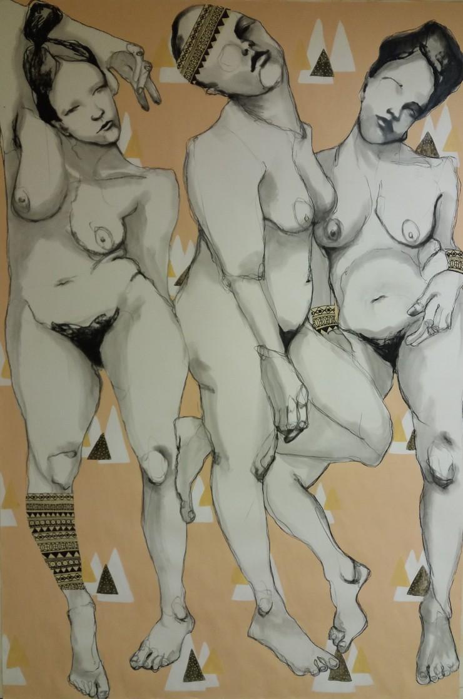 Tytöt,tytöt.150x220, hiili, akryyli ja muste paperille, 2017
